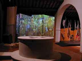 The multimedia sink and a projection screen in the background